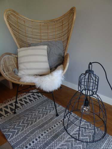 draadlamp rotan stoel