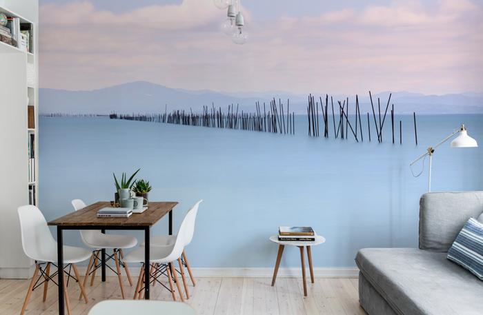 fotobehang blauw meer