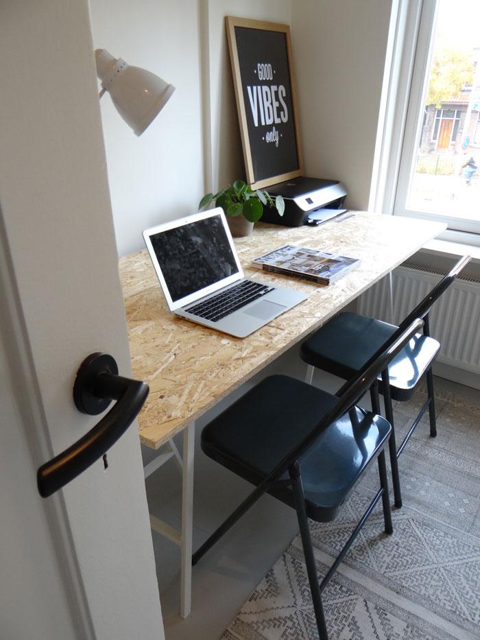 werkkamer met klapstoel
