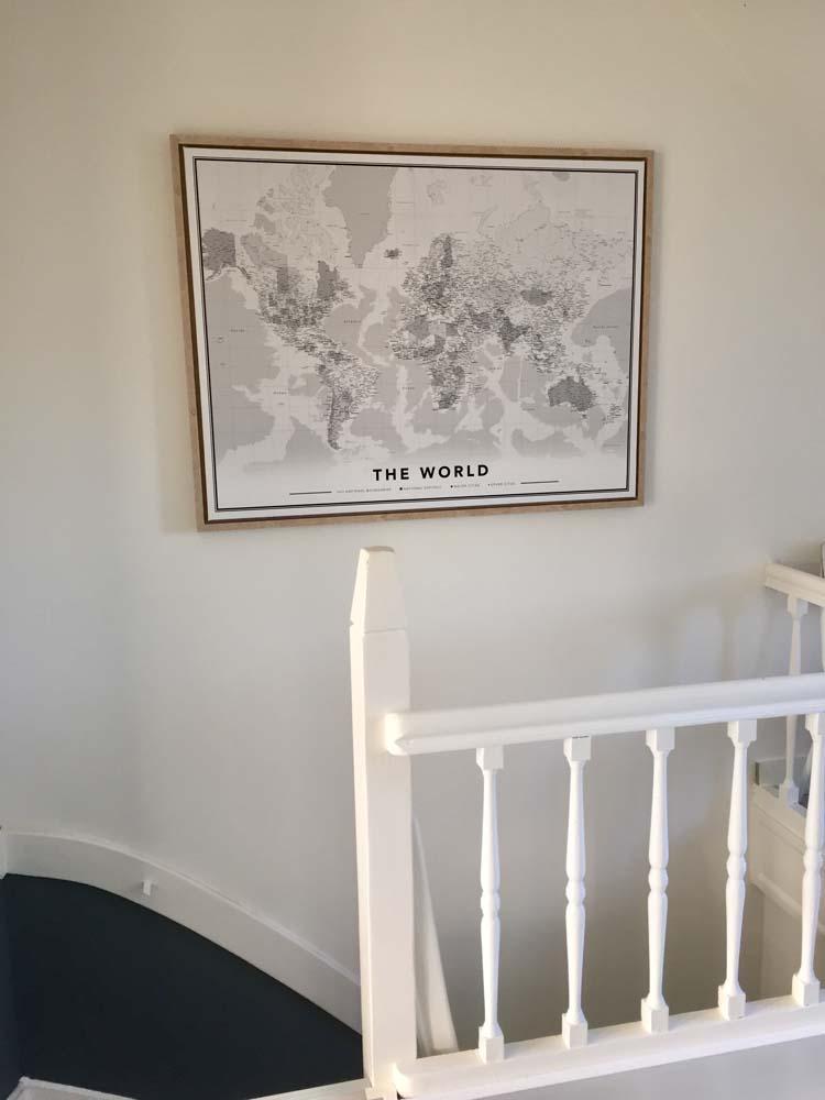 Zwart wit wereldkaart canvas