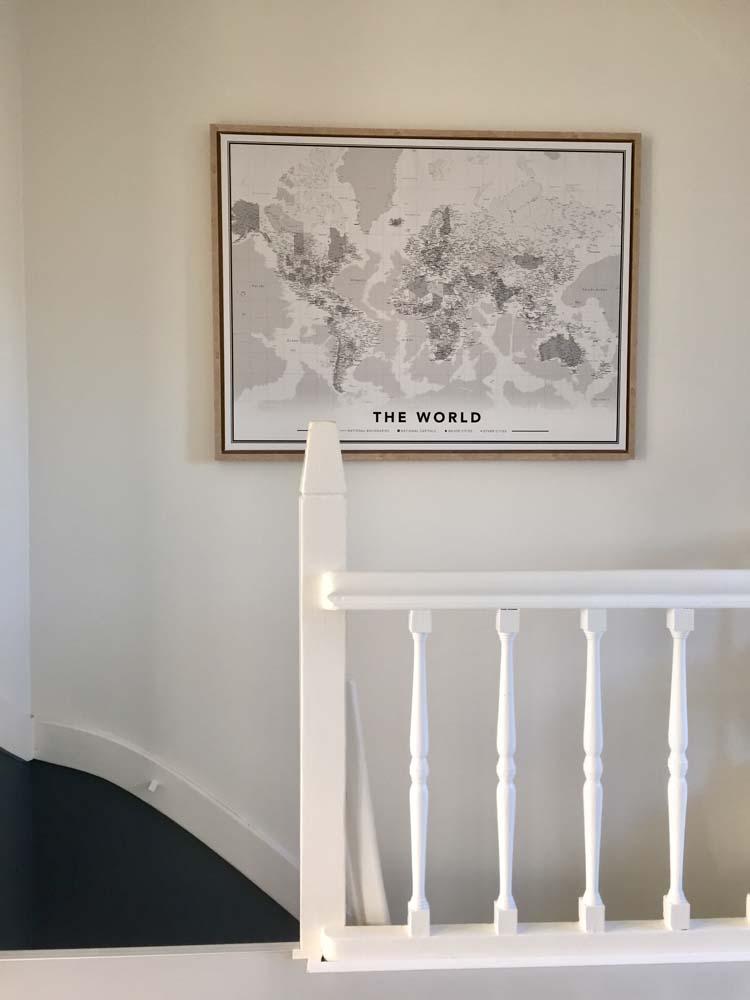 zwart wit wereldkaart trappegat
