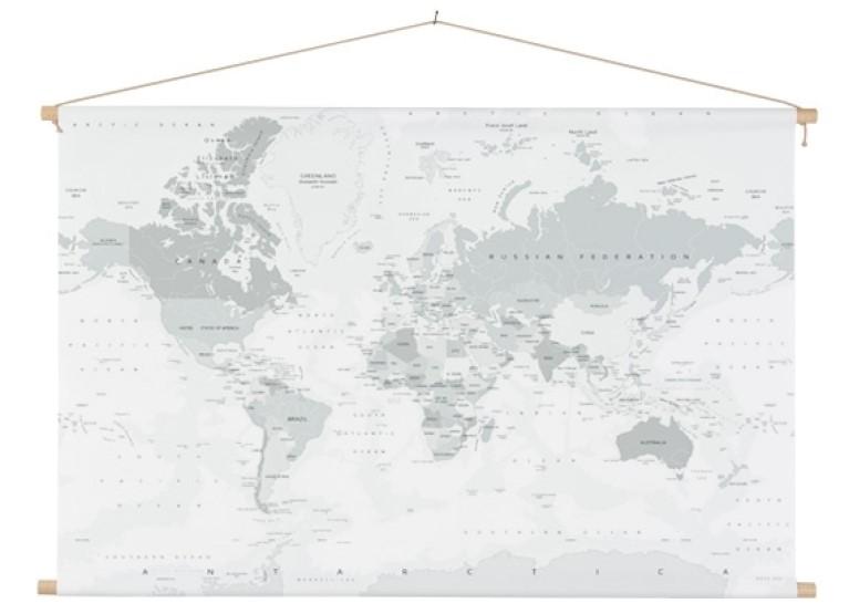 Wereldkaart grijstinten