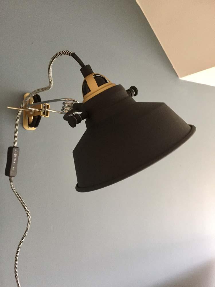 wandlamp zwart goud