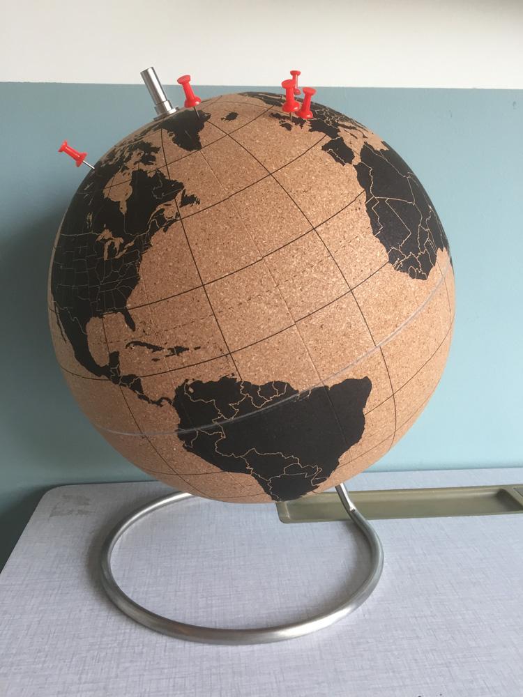 wereldbol kurk continenten