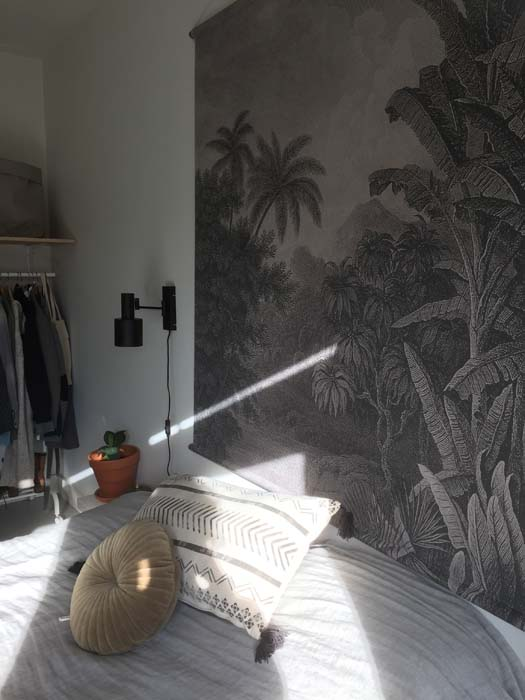wandkleed zwart wit palmboom