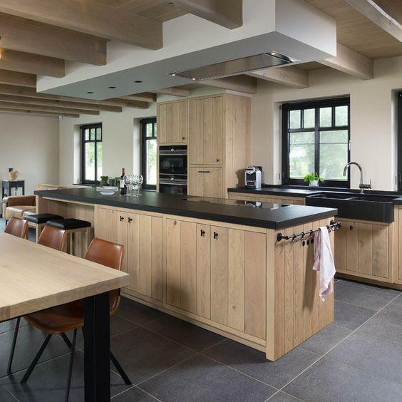 houten keuken betonnen blad