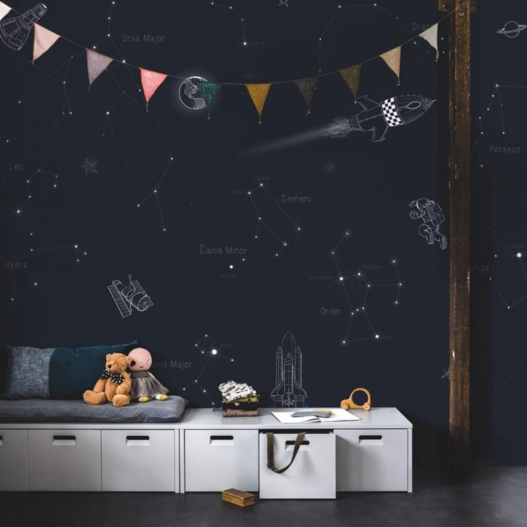 ruimte behang space met sterrenbeelden
